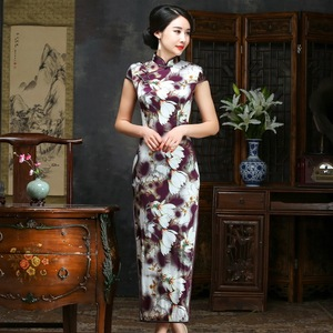 Image 1 - 2019 Sale Real Spring/summer Outfit Daily Improved Long Cheongsam Restoring Ancient Ways Of Cultivate Morality Silk Dress Qipao