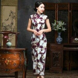 Image 1 - 2019 verkauf Echt Frühjahr/sommer Outfit Täglichen Verbesserte Lange Cheongsam, Die Alte Weisen Von Kultivieren Moral Seide Kleid Qipao