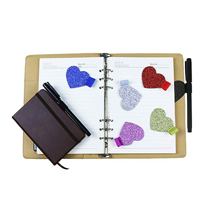 Notebook Accessories Self-adhesive Leather Pen Clip Heart-shaped Pen Insert Straps This Elastic Leather Pen Loop Fixed Stickers