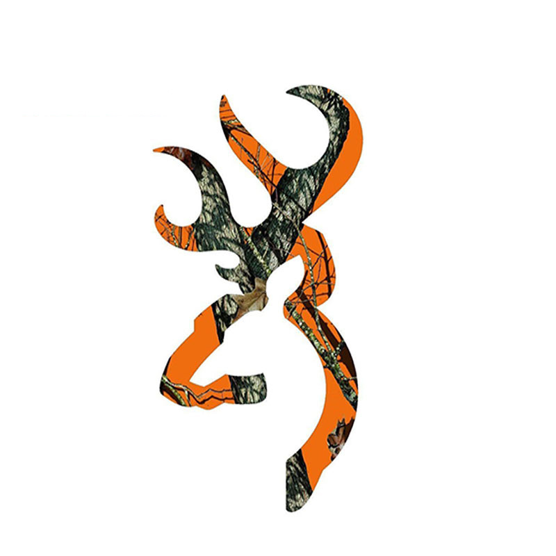 13cm X7cm Interesting Browning Style Buck Realtree Orange Camouflage Hunting Car Sticker Vinyl Car Styling Accessories Decal PVC