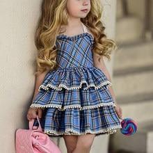 Girls Cupcake Dresses New Blue Plaid Print Tutu Party Cute Sling Dress Summer Sleeveless Princess Dress Baby Children Clothing