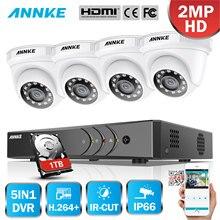 ANNKE 4CH 1080P litectv система 1080P DVR комплект 4 шт. 2.0MP Наружные камеры безопасности Система ИК ночного видеонаблюдения комплект