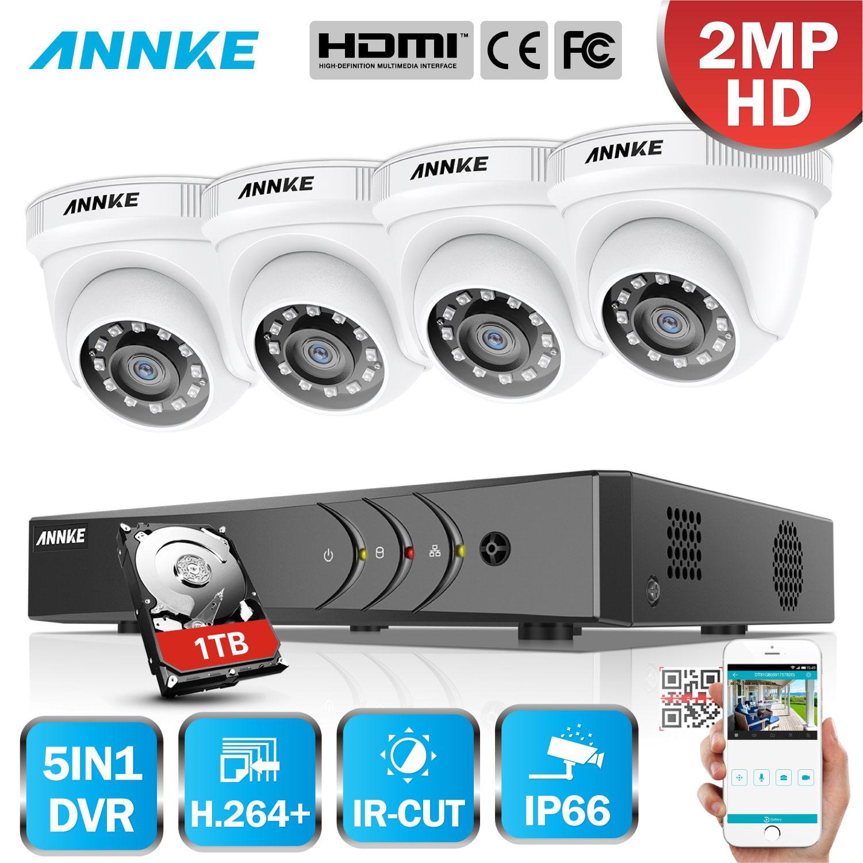 ANNKE 4CH 1080P Lite CCTV System 1080P DVR Kit 4pcs 2 0MP Outdoor Security Cameras System