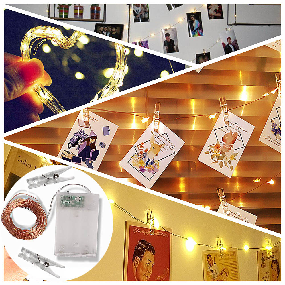LED Fairy Lights Battery Power Copper Wire Photo Clip 10m 100 LED Garland String Light Christmas Wedding Party Indoor Decoration