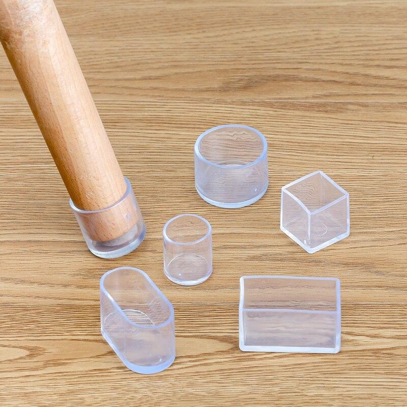 4Pcs silikon Stuhl Bein socken Transparent quadratischen Tisch Boden Füße Abdeckung Protector Pads möbel rohr loch stecker Wohnkultur