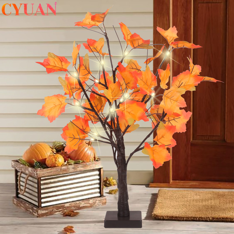 Christmas Decoration Artificial Autumn Maple Led Tree Battery Operated Table Lights Lamp Wedding Thanksgiving Home Decorations Party Diy Decorations Aliexpress