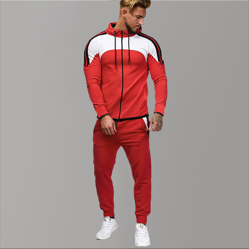 5XL Two Piece White Men Tracksuits Hoodies 2019 Men's Clothing Brand Tracksuit For Men Sports Sets Patchwork Hoodies Sportswear