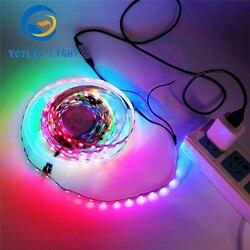 5m 5v usb ws2812b 60leds flexible digital programable addressable rgb led strip lights ws2812 led tape with RF remote controller