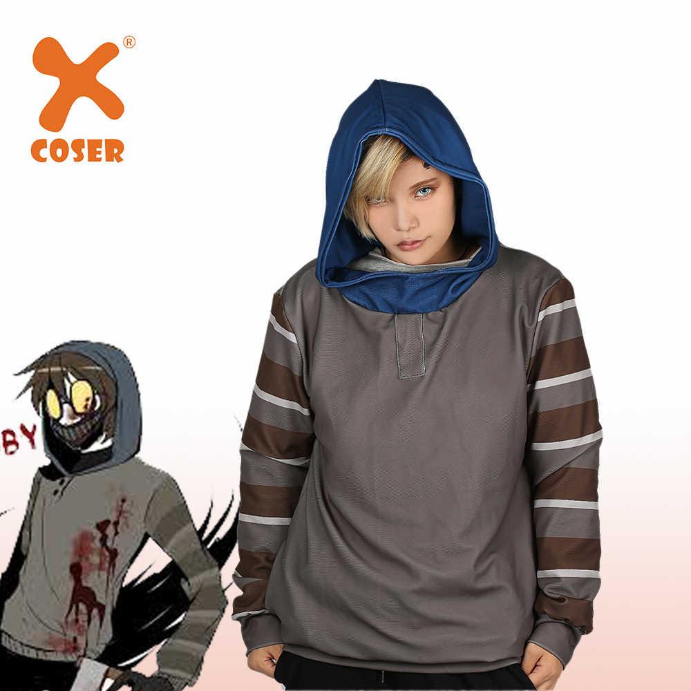 Sudadera con capucha XCOSER Horror creepypaste Ticci, con máscara de color gris, jersey con capucha, disfraz de Cosplay Unisex