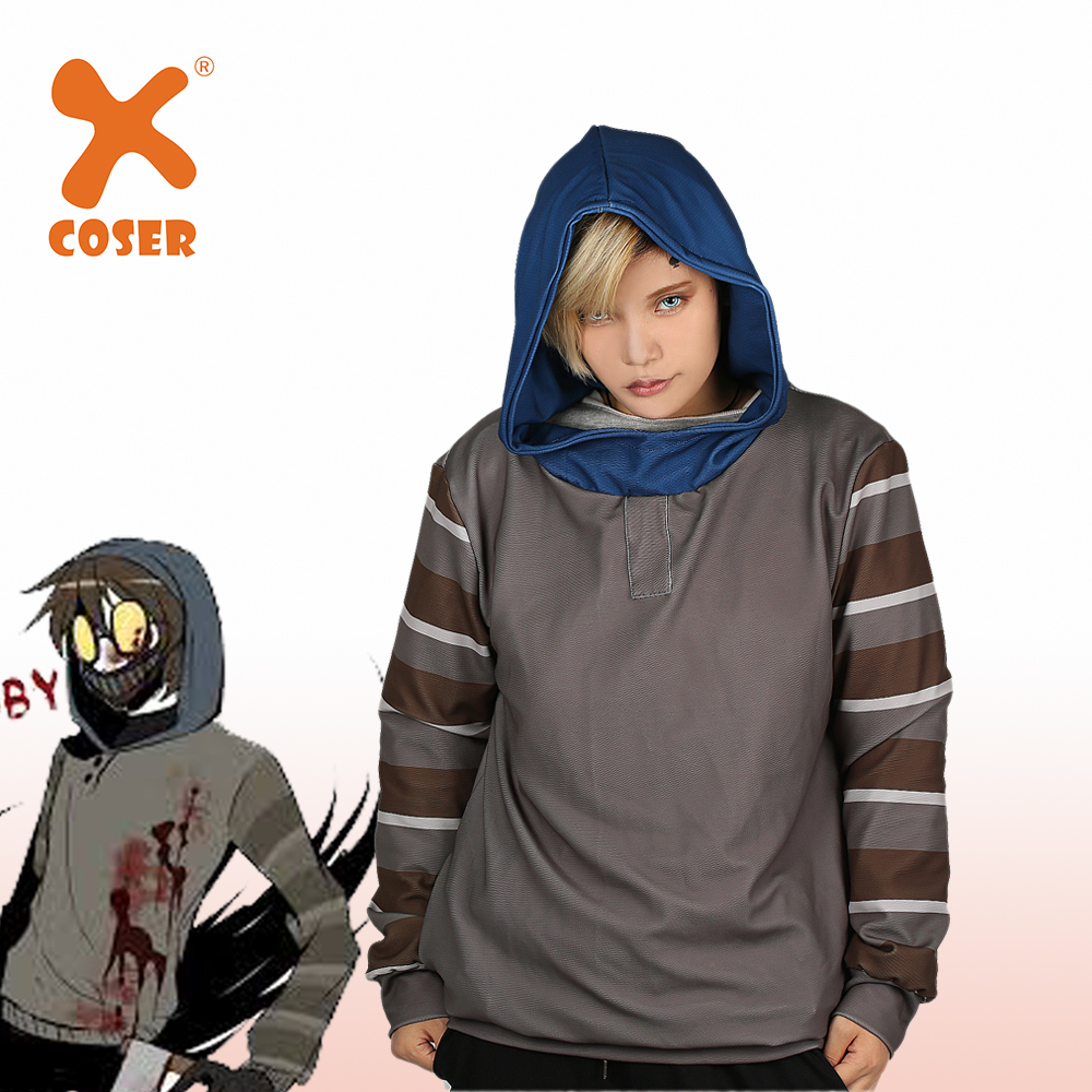 XCOSER Horror Creepypasta Ticci Toby Hoodie Mask Warm Fleeced Hoody Gray Pullover Hooded Sweatshirt Cosplay Costume Unisex