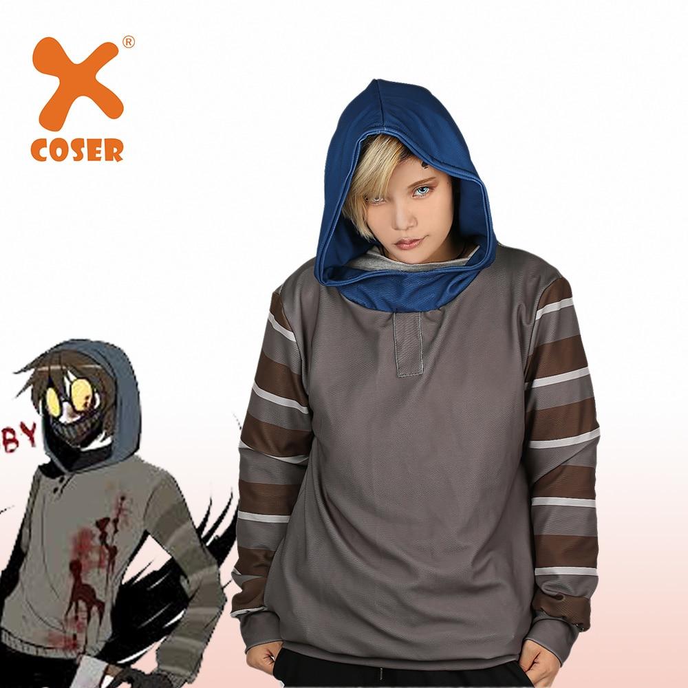 XCOSER Horror Creepypasta Ticci Toby Hoodie Mask Warm Fleeced Hoody Gray Pullover Hooded Sweatshirt Cosplay Costume Unisex