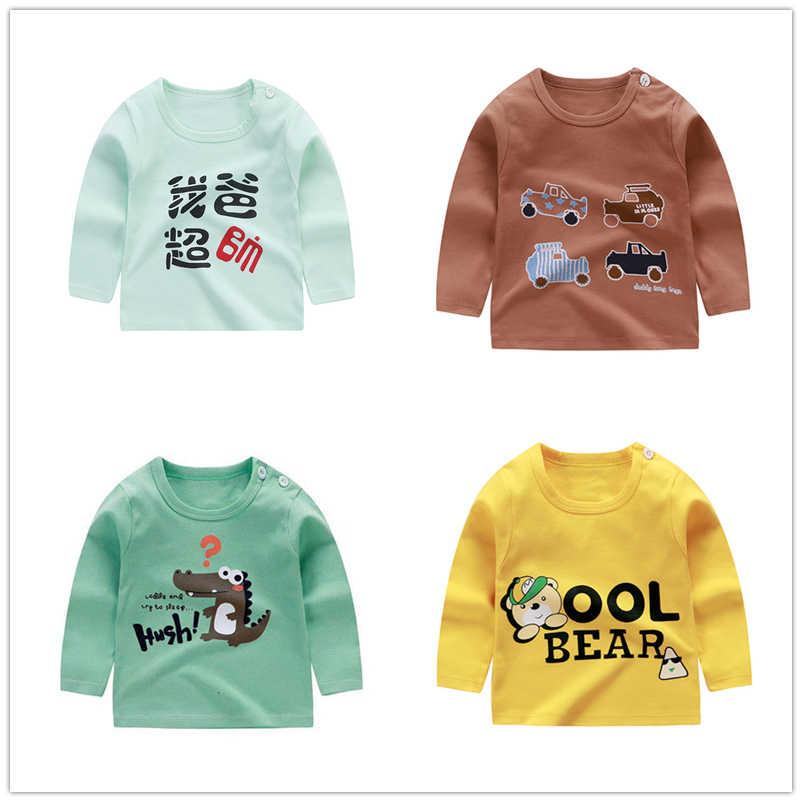 Niños bebés niños Tops de manga larga de algodón cuello redondo Camiseta niño ropa de primavera y otoño
