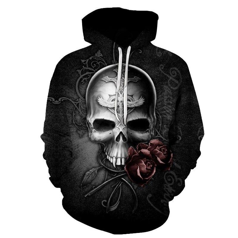 Толстовка мужская с 3d принтом черепа модная кофта для пар цифровые