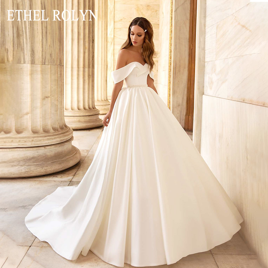 ETHEL ROLYN Sexy Sweetheart Luxury Satin Princess Wedding Dress With Sleeves A-Line Simple Bride Dresses Vintage Wedding Gowns