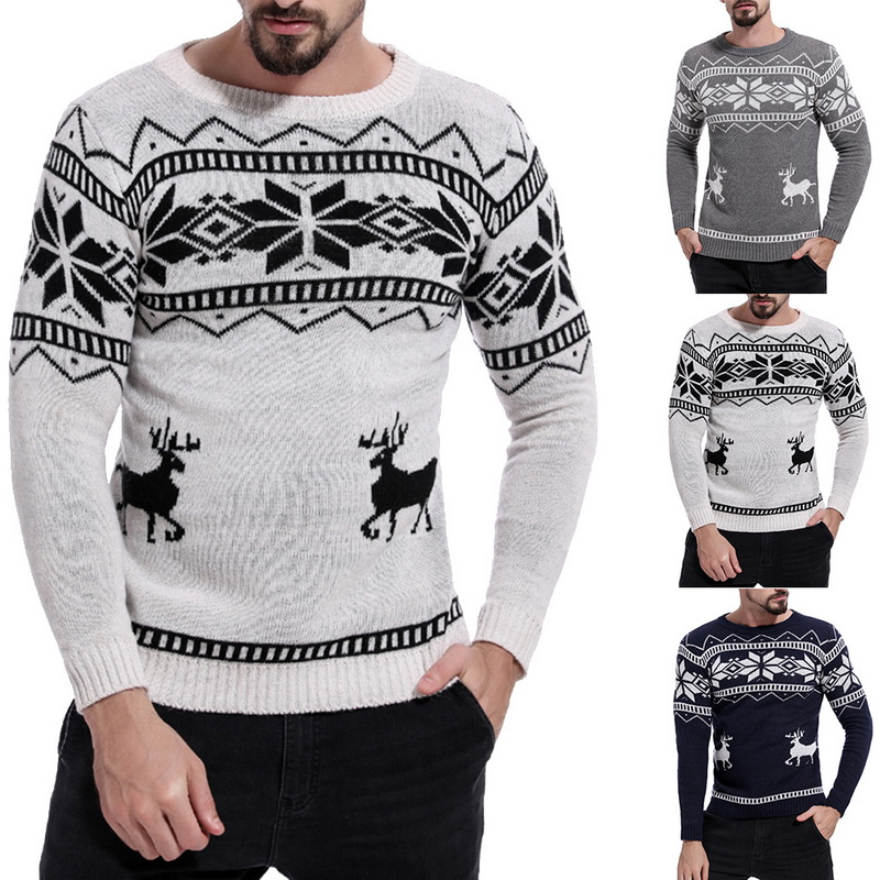 Autumn Winter Christmas Sweater Men Roudneck Casual Sweaters Deer Knitted Pullover Jumper Jersey Slim Fit Male Clothes Pull Homme