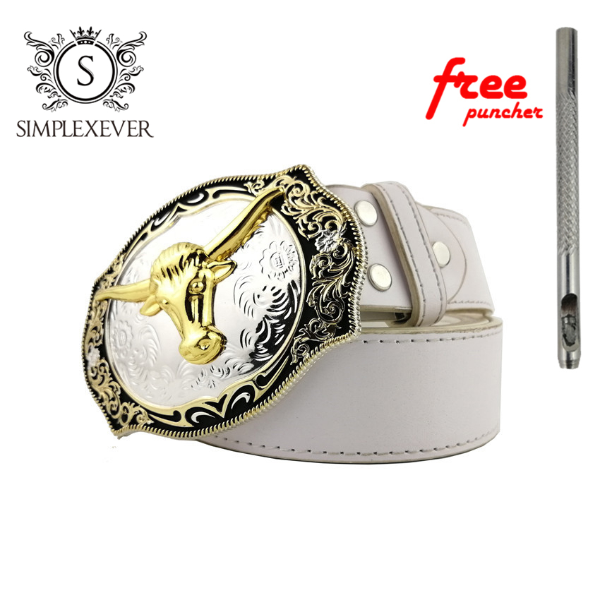 Cow Head Belt Buckle Western Cowboy Rodeo Belt Buckles For Men And Women Gift For Man Boy Friend Father With Leather Belt