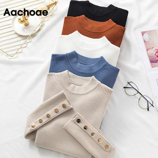 Autumn Women Long Sleeve Pure Slim Sweater Winter Knitted Turtleneck Casual Cashmere Pullover Metal Buttons Split Cuff Basic Top 1