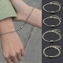2 Pcs Couple Magnet Attract Creative Couple Bracelet Stainless Steel Friendship Men Women Charm Bracelet 2021 Jewelry Lover Gift