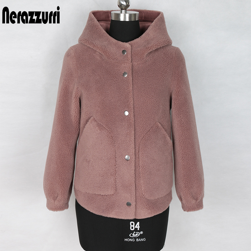 Nerazzurri Winter Short Faux Fur Coat Women With Hood Plus Size Teddy Coat Woman Furry Fluffy Teddy Bear Jacket Crop Top 5xl 6xl