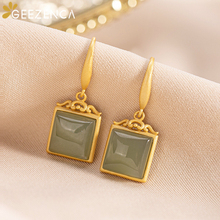 925 Sterling Silver Jewelry Gold Plated Square Shaped Hetian Jade Drop Earrings for Women Gemstone Earring Fashion Cute Gift double r brand new jewelry earrings for women hot sale yellow gold plated 925 sterling silver drop earrings case04266sc 2