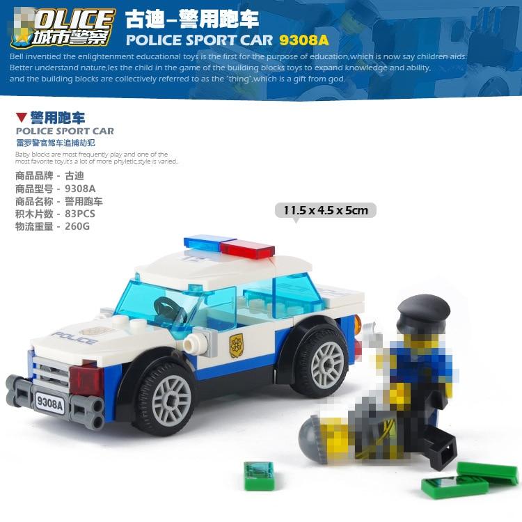9308A GUDI مدينة سلسلة 83 قطعة سيارة الشرطة رعاية رجل رجال الشرطة مركبة لتقوم بها بنفسك التعليمية الطوب بناء لعبة المكعبات للأطفال Brinquedoscompatible with legobrick buildingbuilding blocks -