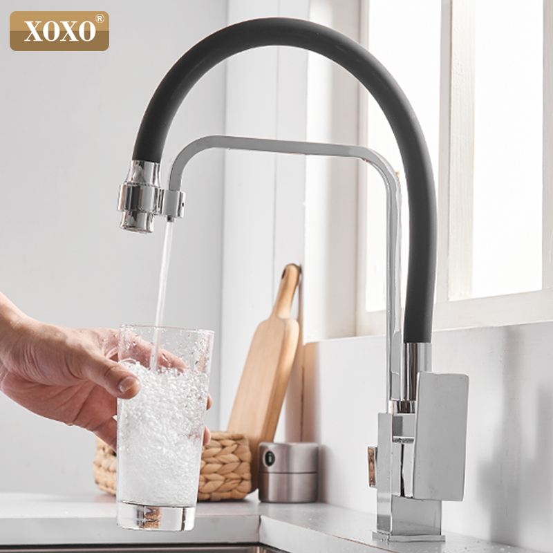 XOXO Filter Kitchen Faucet Drinking Water Black Single Hole Mixer Tap 360 Rotation Pure Water Filter Kitchen Sinks Taps 81098