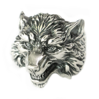 USA Located 925 Sterling Silver High Details Wolf Ring Mens Biker Punk Ring TA163 4PX