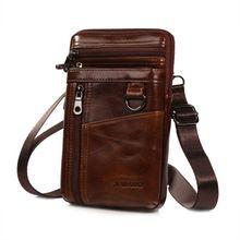 Men Vintage PU Leather Shoulder Bag Crossbody Small Phone Belt Holster Pouch Case Waist Bag 001f men s pu leather inclined crossbody bag