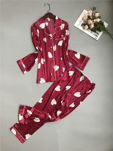 Image 1 - Sexy Women Pajama Sets Silk Satin Pijama Turn down Collar Sleepwear Lady Long Sleeve Spring Nightwear 2 Pieces Sets Homewear