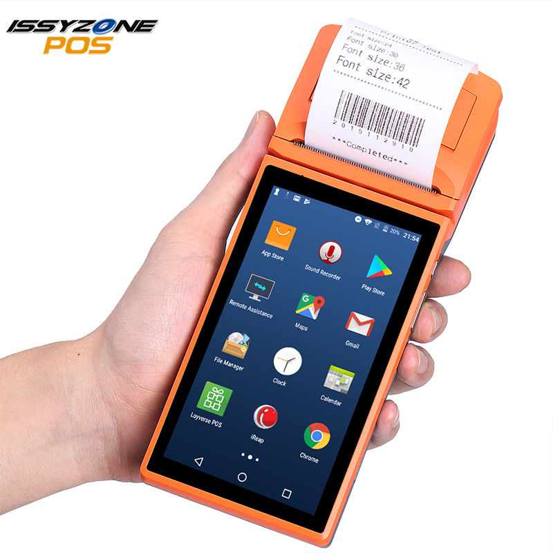 ISSYZONEPOS POS Terminal Android 6.0 PDA Bluetooth Portable Thermal Printer 58mm 2D Barcode Scanner 4G NFC Handheld PDA