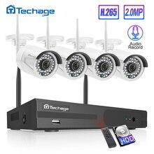 Techage H.265 4CH 1080P Wireless NVR ชุดกล้องวงจรปิดระบบ 2MP เสียง WiFi IP กล้อง IR กลางแจ้ง Video Security การเฝ้าระวังชุด