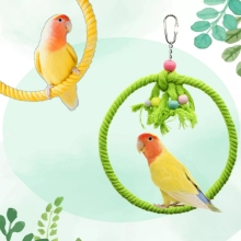 Pet Parrot Birds Cage Toy Cotton Rope Circle Ring Stand Chewing Bite Hanging Swing Climbing Play Toys for Cockatiel Parakeet