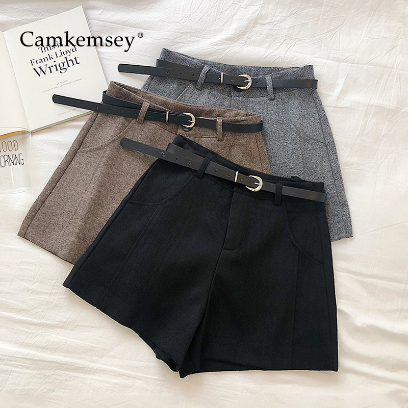 CamKemsey Autumn Winter Wool Blends High Waist Wide Leg Shorts Women Korean Chic Solid Office Lady Casual Suits Shorts With Belt