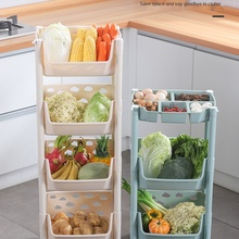vegetable basket, vegetable basket, wheeled rattan storage, fruit and vegetable storage artifact, landing multi-layer shelf