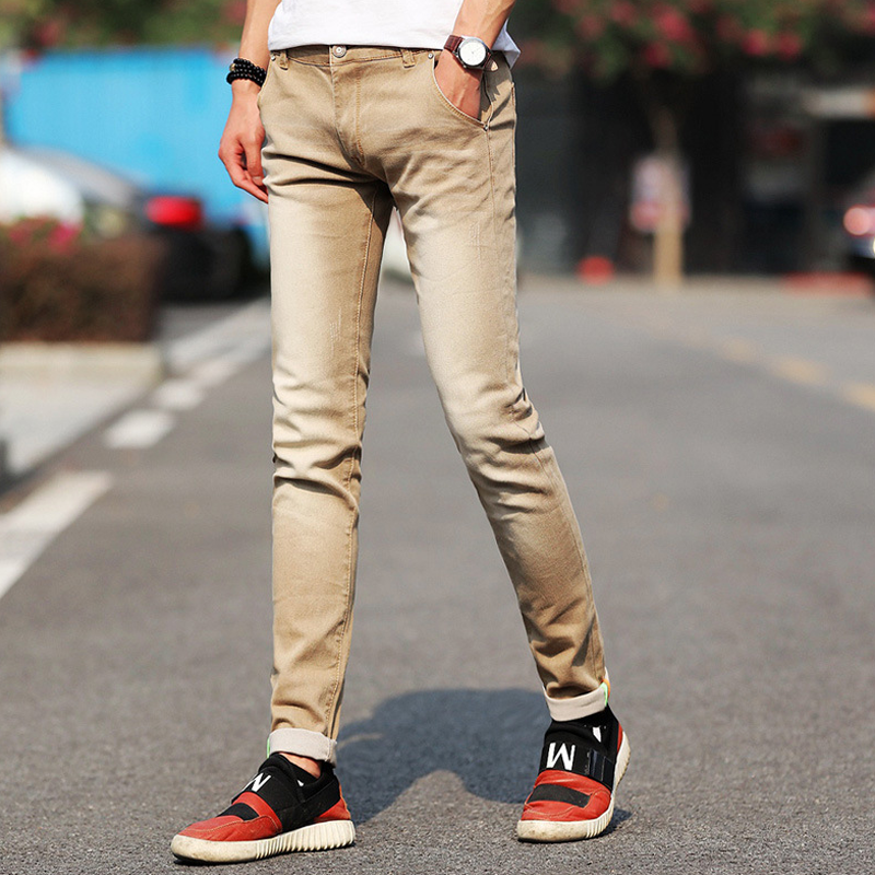 Men Stretchy Denim Skinny Green Jeans 2020 Spring Autumn Brand Classic High Quality Fashion Jeans