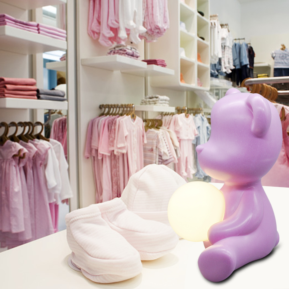 Kid Gift 5W Table Night Light Pink Blue with Plug in, Italy Design Lovely Bear ABS Bedside Study Table LED Light for Girl Boy - 6