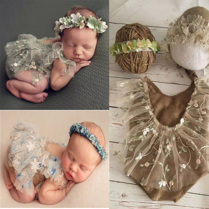 4Pcs Newborn Photography Props Suit Lace Romper Hat Pillow Headband Set Knit Outfits Clothing Infants Shooting Photo Gifts