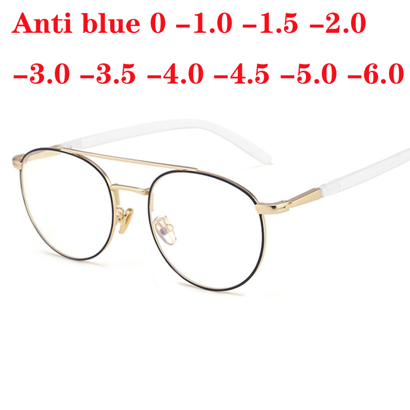 Women Round Spectacles Double Beam Glasses Fashion Anti Blue Ray Clear Lens Metal Frame Eyeglasses 0 -1.0 -2.0 To -6.0