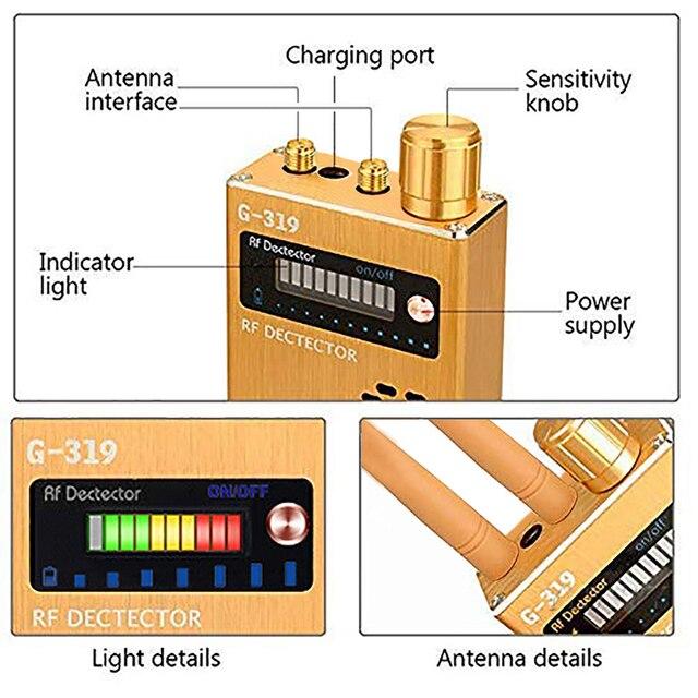 Dual Antenna RF Signal Anti Spy Hidden Camera Anti Candid Camera Detector Eavesdropping Pinhole Audio Bug GPS GSM Device Finder 3
