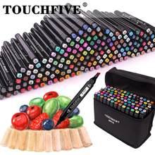 Touchfive 36/48/80/168 canetas de marcador de cor manga desenho álcool baseado esboço feltro-ponta canetas de escova gêmea oleosa