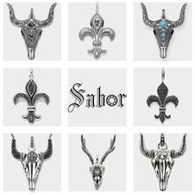 Кулон с черепом буйвола, новинка 2020, модные ювелирные изделия, серебряный цвет, кубический цирконий, подарок для женщин Вэнь, подходящее ожерелье, Томас