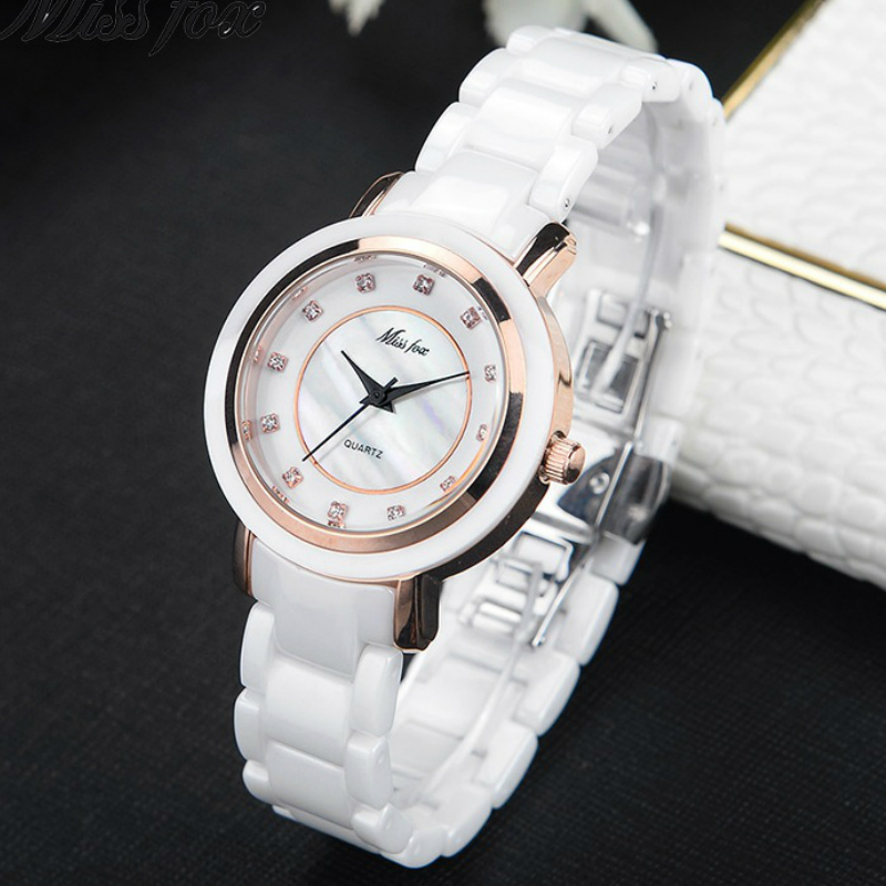 Luxury White Ceramic Watch Women Fashion Simple Clock 34mm Dial High-Grade Gold Watch relojes para mujer Ladies Quartz Watches