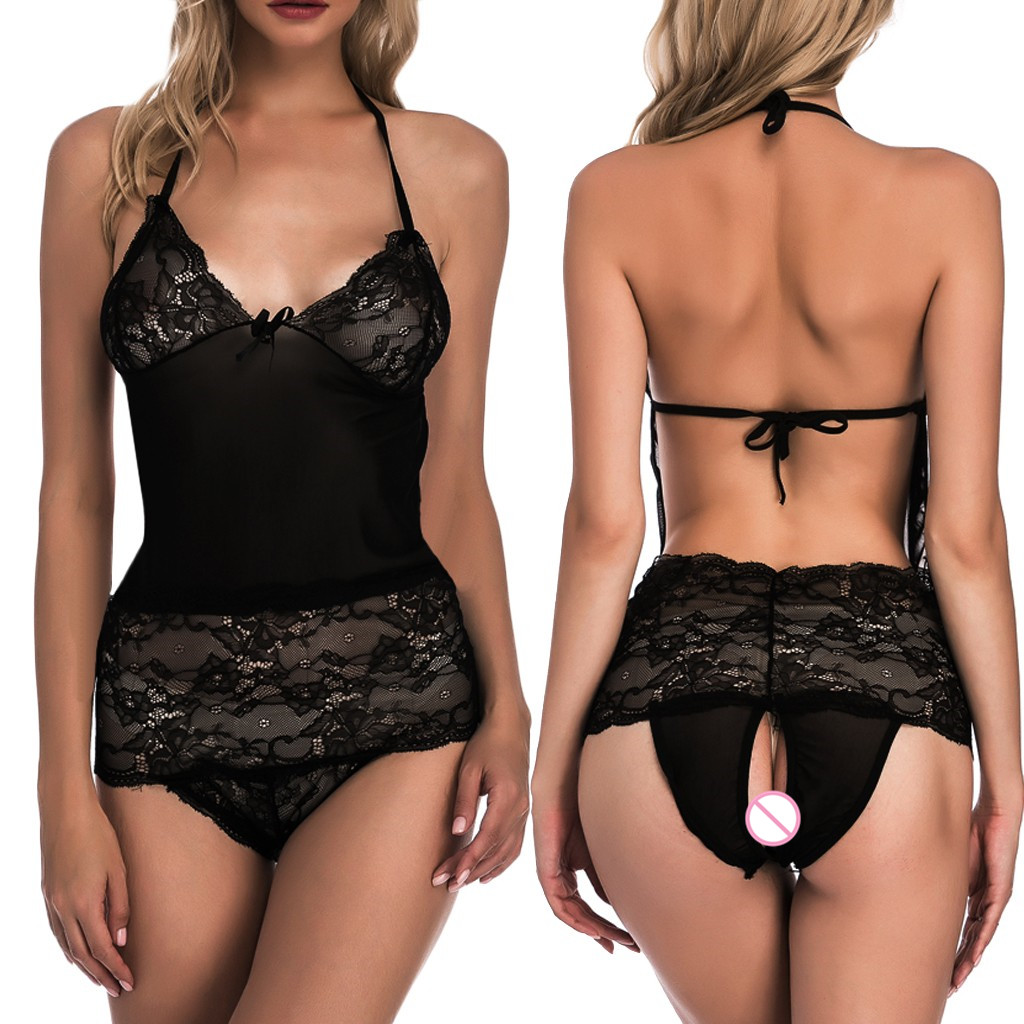 Black Open Back Sissy Lingerie Plus Size Women <font><b>Sexy</b></font> Lace backless Erotic Sleepwear <font><b>Bodydoll</b></font> Porno <font><b>Sexy</b></font> Underwear Lenceria Mujer image