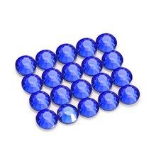Glass Hotfix Rhinestone Dark Blue Round Flatback Crystal Rhinestones Nail Art Stones Stickers for Clothing Hotfix Strass Diamond