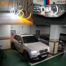 цена на Ultra bright Dual Color Switchback led angel eyes drl turn signal light For BMW X5 e70 2007 2008 2009 2010 2011 2012 2013