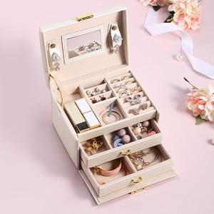 Image 2 - גדול תכשיטי אריזת קופסות ארון הלבשה חזה עם נועלים צמיד טבעת ארגונית נשיאת מקרים עם 2 מגירות 3 שכבות