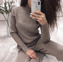 Winter 2 Piece Sets Women 2019 New Knitted Tracksuit Turtleneck Pullover Sweatshirts Pants Suit Casual Clothing Set