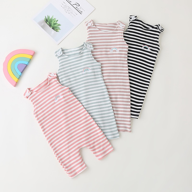 2021 New Baby Boys Girls Clothes Newborn Romper Infant Jumpsuit Summer Cotton Striped Patchwork Rompers Cool Shorts Babies 0-24M 5