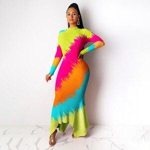Image 2 - فساتين الأفريقية للنساء أنيقة الاسلوب المناسب المرأة الأفريقية بالإضافة إلى حجم البوليستر فستان طويل ماكسي