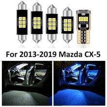 9 sztuk LED do wnętrza samochodu żarówka pakiet dla Mazda CX 5 CX5 2013 2014 2015 2016 2017 2018 2019 mapa Dome lampa oświetlająca tablice rejestracyjną światła samochodowe